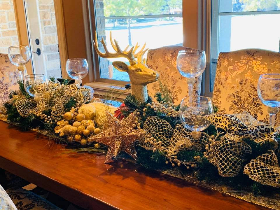 Shelly's Christmas centerpiece creation featuring gold trimmings